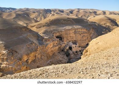 Israel, mar jaris (st. george), desert, desert landscape, sun, Rocky desert, canyon, desertion