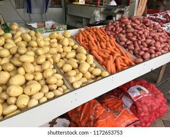 Israel, Netanya, June 2018: Fruit and vegetable sale in the bazaar in Israel
