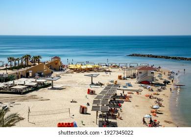 ISRAEL, NETANYA, MARCH, 2016 - People enjoying on Netanya city beach, Israel