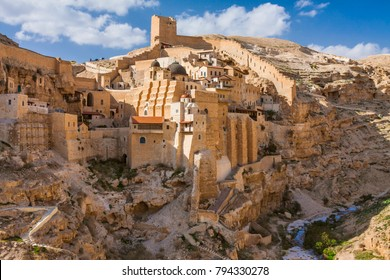 Israel - Palestine / West Bank - Bethlehem - Holy Lavra of Saint Sabbas the Sanctified (Mar Saba) monastery on the wall of Kidron valley in Judean desert