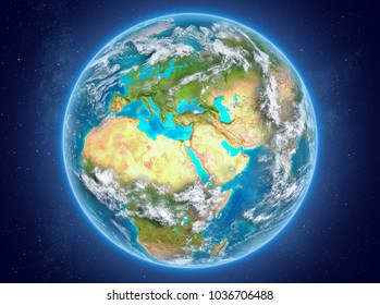 Israel in red on model of planet Earth with clouds and atmosphere in space. 3D illustration. Elements of this image furnished by NASA.