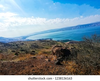 Israel region: Galilee, Jordan Rift Valley, Golan Heights. Sea of Galilee (Hebrew: Kinneret or Kineret). Beautiful landscape with lake (sea), forest and mountains. North of israel