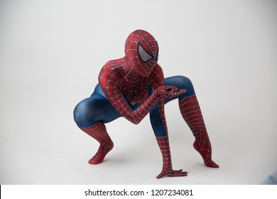 Israel, Tel Aviv October 14, 2018: Man in a Spiderman costume outside the Tampa Convention Center during Comic Con