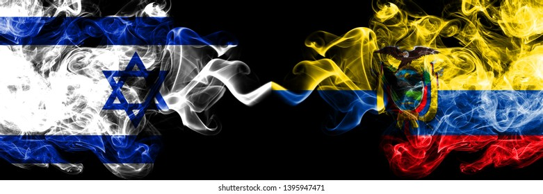 Israel vs Ecuador, Ecuadorian smoky mystic flags placed side by side. Thick colored silky smokes flag of Israel and Ecuador, Ecuadorian.