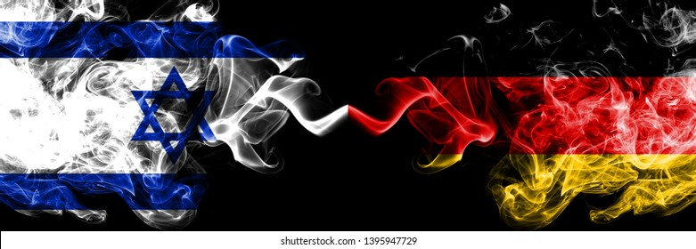 Israel vs Germany, German smoky mystic flags placed side by side. Thick colored silky smokes flag of Israel and Germany, German.