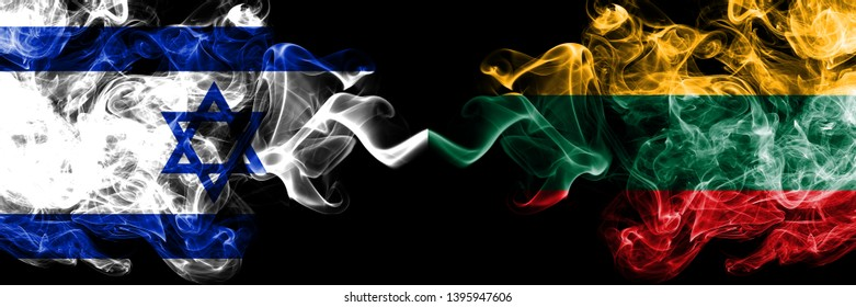 Israel vs Lithuania, Lithuanian smoky mystic flags placed side by side. Thick colored silky smokes flag of Israel and Lithuania, Lithuanian.
