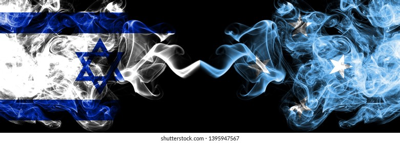 Israel vs Micronesia, Micronesian smoky mystic flags placed side by side. Thick colored silky smokes flag of Israel and Micronesia, Micronesian.