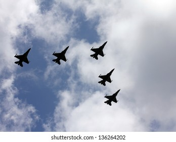 Israeli Air Force airplanes (five jet fighters) at parade in honor of Independence Day