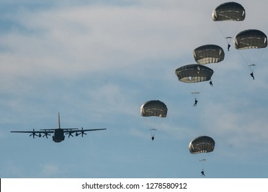 Israeli army paratroopers in a day training jump- Israel