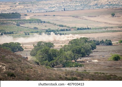 Israeli Defense Force destroys Hamas underground military tunnel stretching to the territory of Israel during the military operation Protective Edge. Erez, Israel-Gaza border, Circa July 2014.