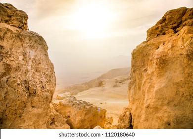 Israeli Desert sunrise View From High Point Near Mitzpe Ramon
