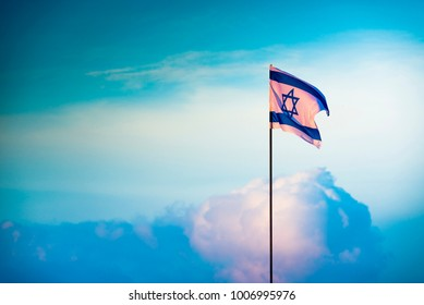 Israeli flag in the clouds