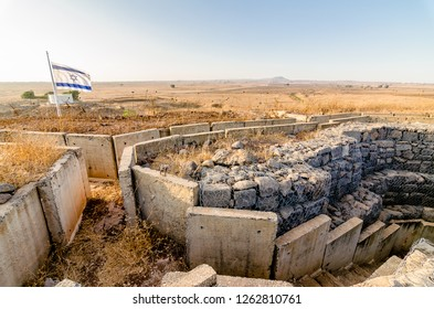 Israeli flag flying over fortifications from the Yom Kippur War at Tel Saki in Israel's Golan Heights