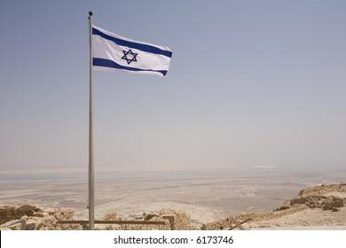 Israeli flag flying over Masada