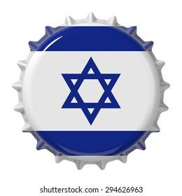 Israeli flag on bottle cap. 3D rendering
