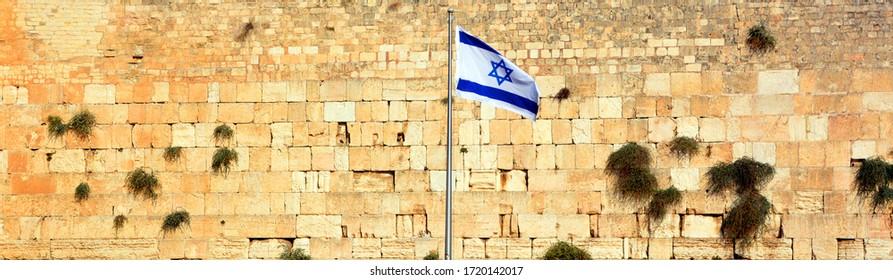 Israeli flag at the Western Wall, Jerusalem , Israel