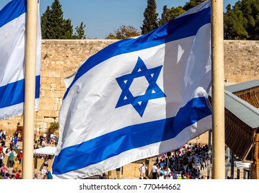 Israeli flags at the Western Wall