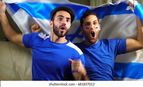 Israeli Friends Celebrating with Israel Flag