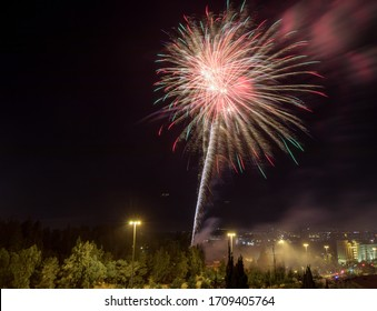 Israeli Independence Day 2019, fireworks from the state ceremony at Mount Herzl, Jerusalem.