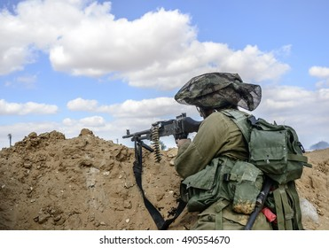 Israeli infantry soldier in a battalion maneuver as part of regular training the army have.