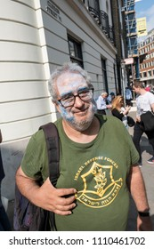 An Israeli man shows his opposition during the Al Quds Day rally, London, 10/06/18.