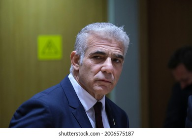 Israeli Minister of Foreign Affairs, Yair Lapid attends in a meeting of EU foreign ministers, at the European Council in Brussels, Belgium on July 12, 2021.