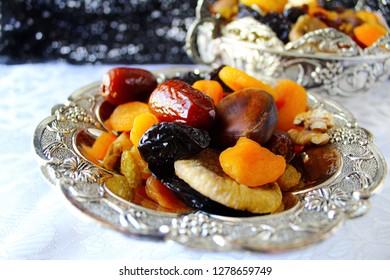 Israeli mix of dried fruits and nuts - symbols of Jewish holiday Tu Bishvat