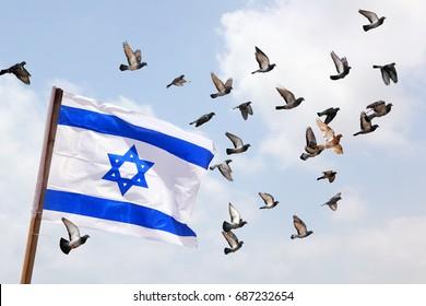 Israeli national flag fluttering on a wind. Pigeons fly against the blue sky