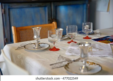 Israeli Pesach seder traditional table