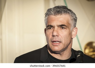 Israeli politician Yair Lapid, former Finance minister and a current chairman of Yesh Atid party, giving an address to the Israeli businessmen at a conference in Tel Aviv. Israel, April 2014.