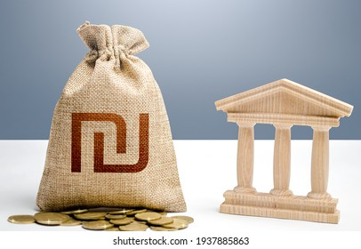 Israeli shekel money bag and bank  government building. Budgeting, national financial system. Support businesses in crisis. Lending loans, deposits. Monetary policy. Resource allocation.