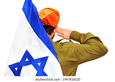 Israeli soldier with Israel flag salutes in an orange beret. White isolated background - Shutterstock ID 1947816520