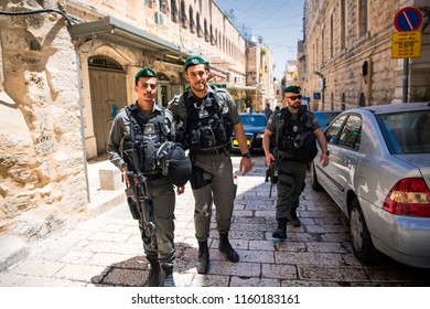 Israeli soldiers on the streets of Jerusalem's Old City, Israel. 16-05-2017
