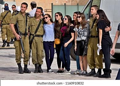 Israeli soldiers at Wailing Wall. 10th may 2016. Jerusalem, Old Town. Israel.