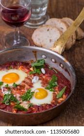israelian shakshuka dish in a pan