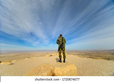 Israeli-Egyptian border/Israel -Dec 1st - Israeli soldier watching the desert for hostile activity in Dec 1st 2019  around the Israeli-Egyptian border.