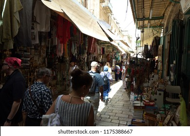 Israel,Jerusalem, May 2018: tourist walk  old city market street