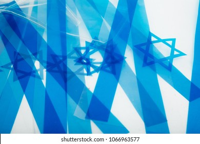 isral flag on white background, israel Flags chain on a white background, Israeli Star of David official flags, street decoration for the Israel Independence Day (Yom Haatzmaut)