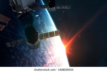 ISS space station walking Erarth planet orbit. Elements of this image furnished by NASA