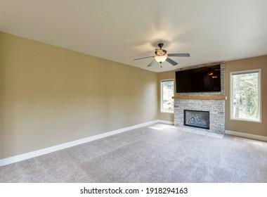 Issaquah, WA, USA - April 17, 2020: Empty residential living room interior