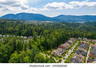Issaquah Washington USA Aerial View of Homes Trees Mountains
