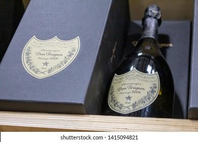 Issaquah, Washington/United States - 04/27/2019: A bottle and box of Dom Perignon