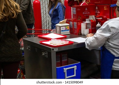 Issaquah, Washington/United States - 04/27/2019: An example of sample carts all around a Costco grocery store