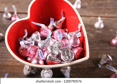 Issaquah, WA-USA, January 28th, 2018 : Red heart shaped bowl with hershey's kisses for Mom on Mother's Day. Issaquah-Washington State.