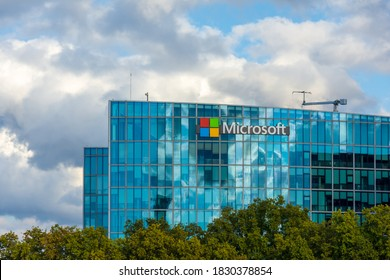 ISSY LES MOULINEAUX, FRANCE - OCTOBER 9, 2020: French headquarters of Microsoft, American multinational company which develops, manufactures, licenses and sells computer software and electronics