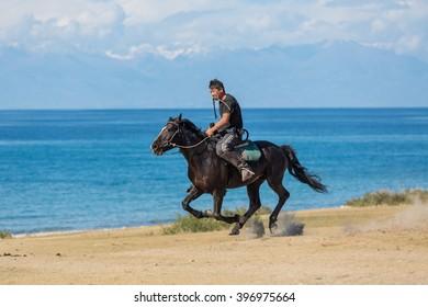 "Issyk-Kul, Kyrgyzstan - SEPTEMBER 15: National Games nomads ""Kokpar"" September 15, 2015 in Issyk-Kul, Kyrgyzstan"