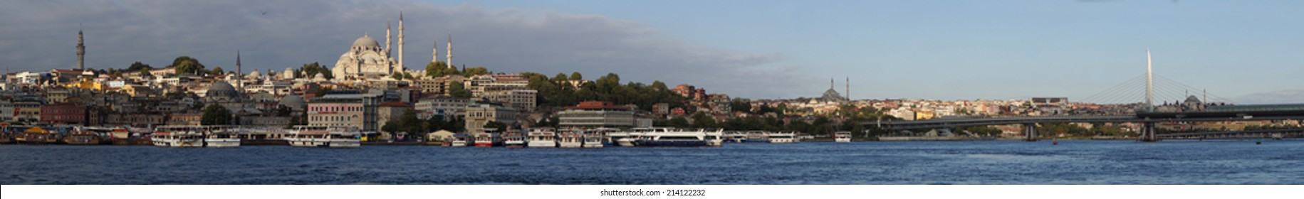 ISTAMBUL - August 30, 2014.  Panorama of Istambul, the largest city of Turquey, from the Bosforus waterway. On August 2014 in Istambul, Turkey.
