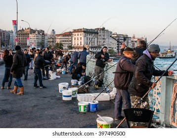 ISTAMBUL, TURKEY - APRIL, 18: Fishermen on the Galata bridge on 11 april 2013