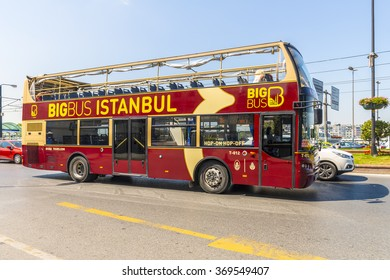 ISTAMBUL,TURKEY - JULY 10, 2014: Sightseeing double-decker bus in central Istanbul