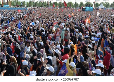 ISTANBUL - 17 May: The AK Party (AKP) meeting. Before the general election. On May 17, 2015 in Istanbul, Turkey